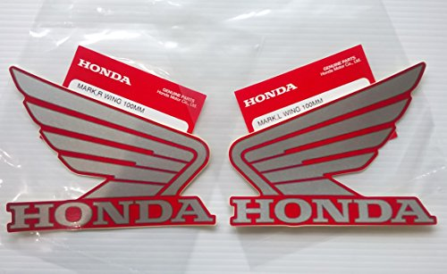 Honda Wings Fuel Tank Gas Tank Stickers Decals 2 X 100mm Silver/ Red Left & Right Brand New 100% Genuine
