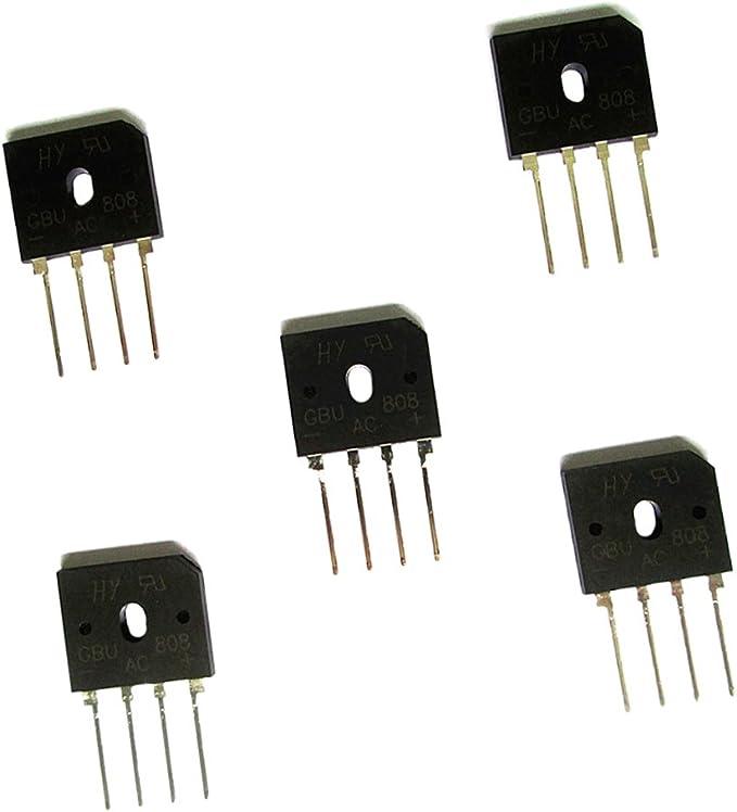 Sharplace Lot de 5pcs Redresseur Puce Pont Phases Simples Diode 8A 800V