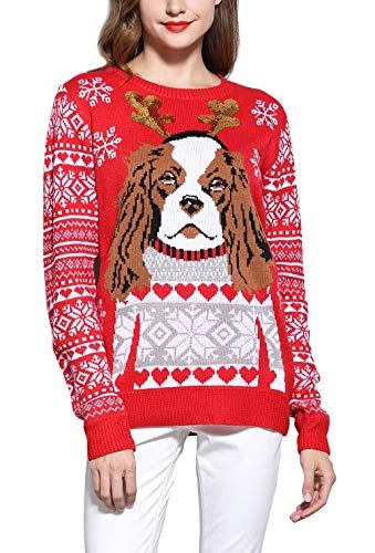 Puppy Kids Sweatshirt - *daisysboutique* Women's Christmas Cute Puppy Dog Print Knitted Sweater Girl Pullover (Small, KCS-Red)