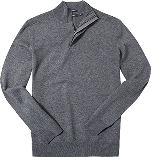 72ac7cf30a0 Amazon.com  Hugo Boss Boss Men s Bonny 1 4 Zip Virgin Wool Blend Jumper  Sweater (Charcoal