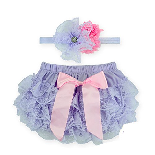 Toptim Baby Girl's Bloomer + Headband Set Lace Diaper Covers (2 Pack) (0-6 Months, Purple)