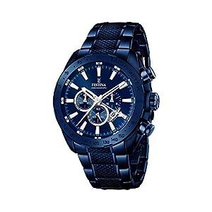 Festina Homme Analogique Quartz Montre avec Bracelet en Acier Inoxydable F16887-1 – Bleu