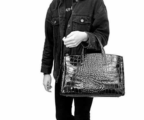 Sac Cuir Vernis Femme Sac Verni Sac Cuir a Italie Noir Plusieurs Main Verni Sac Femme Sac Crocco Sac Cuir Sac Coloris Cuir Sac Cuir Vernis Cuir Elegancia 7qRgax