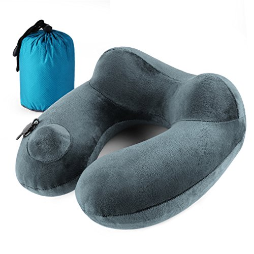 Andake Foldable Neck Pillow, Quick Inflating Deflating Comfortable Portable with Detachable Pillowcase (Upgraded Push-Button Blowing Grey)
