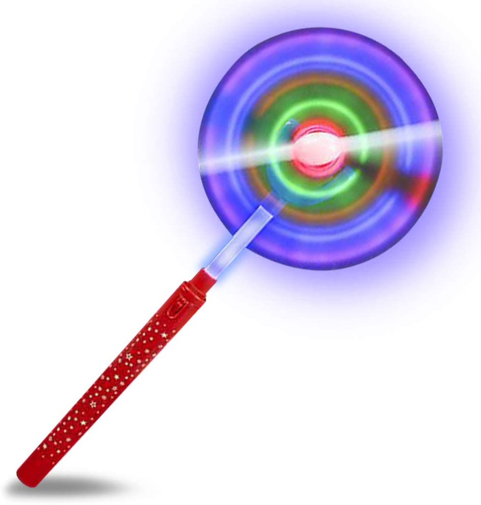 """Girls Great Gift Idea Boys 7/"""" LED Electronic Spin Toy Kids Batteries Included Fun Birthday Party Favor// Carnival Prize Toddlers ArtCreativity Light Up Orbiter Spinning Wand"""