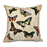 E by design 18 x 18-inch, Antique Butterflies and Flowers, Animal Print Pillow, Gold