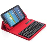 """TPCROMEER Universal 7"""" 7.0 7 Inch Tablet Folding Leather Case Cover with Removable Detachable Wireless Bluetooth Keyboard for Samsung Galaxy Tab 2 / Tab 3 / Tab 4 7 Inch, Google Nexus 7.0 / 7 FHD 2nd Generation, Kindle Fire 7"""" / HD 7"""" / HDX 7"""", iPad Mini and Other 7-Inch Android Tablets - Red"""