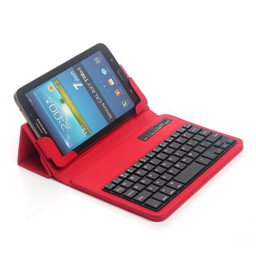 TPCROMEER Universal 7-8 Inch Tablet Folding PU Leather Case with Detachable Bluetooth Keyboard for Samsung Galaxy Tab 2/3/4/A 7.0/8.0, Google Nexus 7.0, iPad Mini and Other 7'-8' Android Tablets, Red