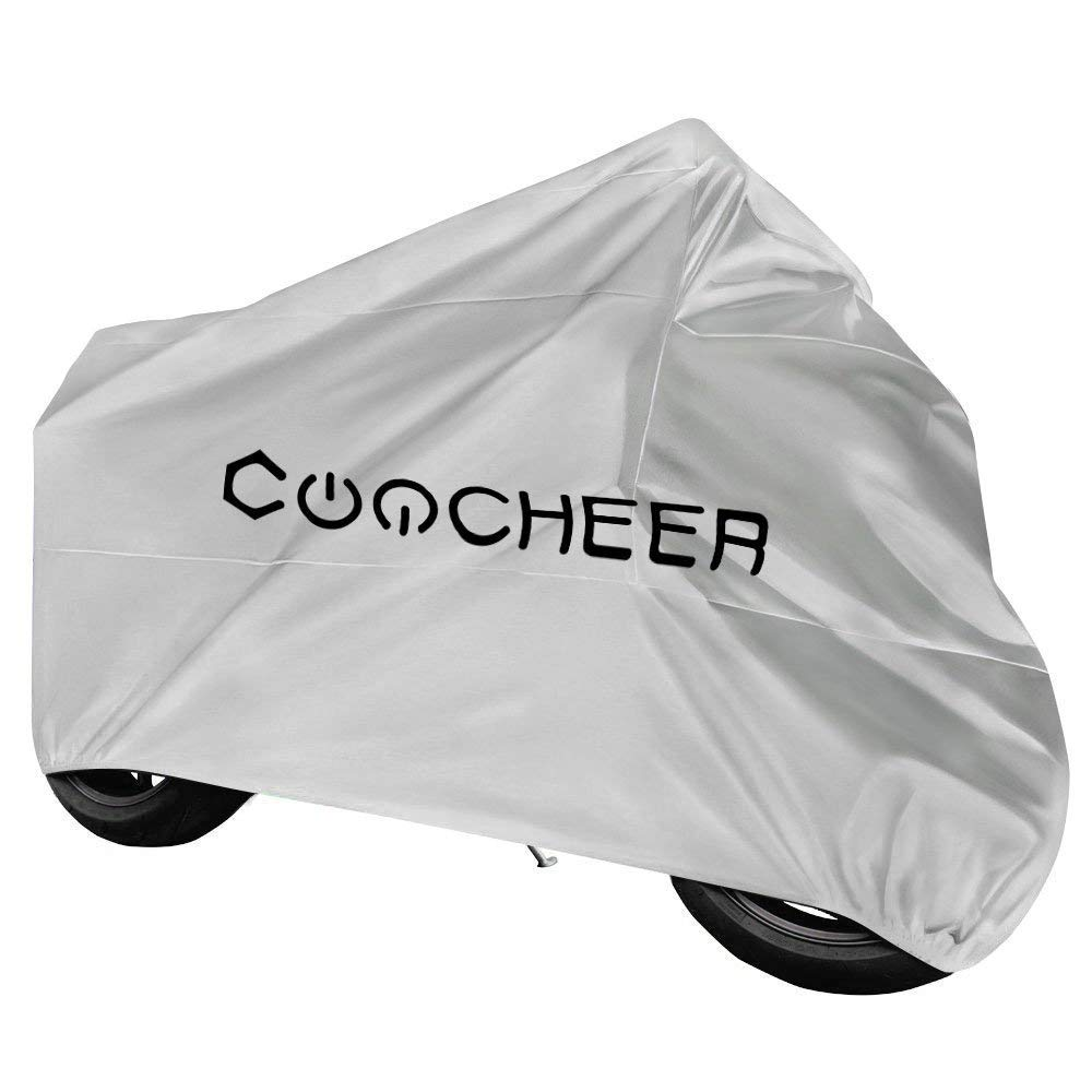 COOCHEER Waterproof Motorcycle Cover,210T Double Breathable Polyester,UV Resistant,Washable,Fadeproof, Fits for Harley Davison,Yamaha,BMW,Suzuki,Honda and Other Motors Scooter Cover, 116x43x55 inch