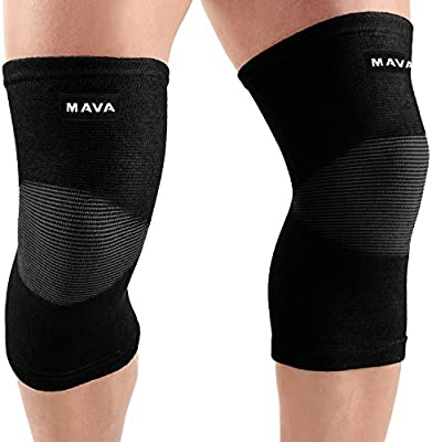 Mava Sports Knee Support Sleeves (Pair) for Joint Pain & Arthritis Relief, Improved Circulation Compression – Effective Support for Running, Jogging, Workout, Walking & Recovery