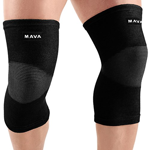 Mava Sports Knee Support Sleeves (Pair) for Joint Pain & Arthritis Relief, Improved Circulation Compression – Effective Support for Running, Jogging,Workout, Walking & Recovery (Black, XXX-L)