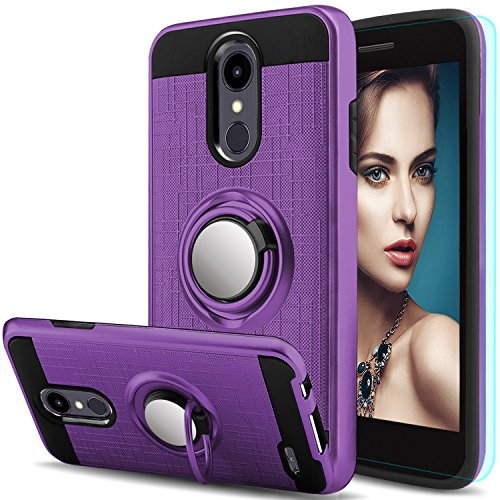 AnoKe for LG Aristo 2 Plus Case LG Aristo 2/LG Tribute Dynasty/LG Zone 4/LG Fortune 2/LG K8 2018/LG Risio 3/LG Rebel 3 LTE with HD Screen Protector,Ring Holder Kickstand Protective Cover ZS Purple