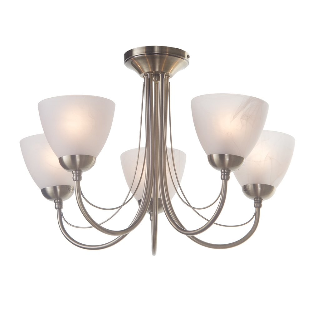 Barcelona 5 Light Semi Flush Curved Arm Sitting Room Bedroom Ceiling Brushed Satin Chrome Pull Cord Switch Amazoncouk Lighting In With Alabaster Glass Shades Litecraft