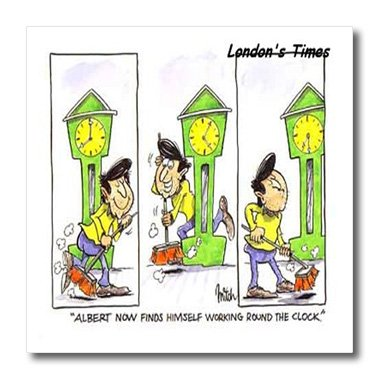 3dRose Londons Times Funny Society Cartoons - Work 24 7-6x6 Iron on Heat Transfer for White Material (ht_1769_2) (Funny Work Cartoons)