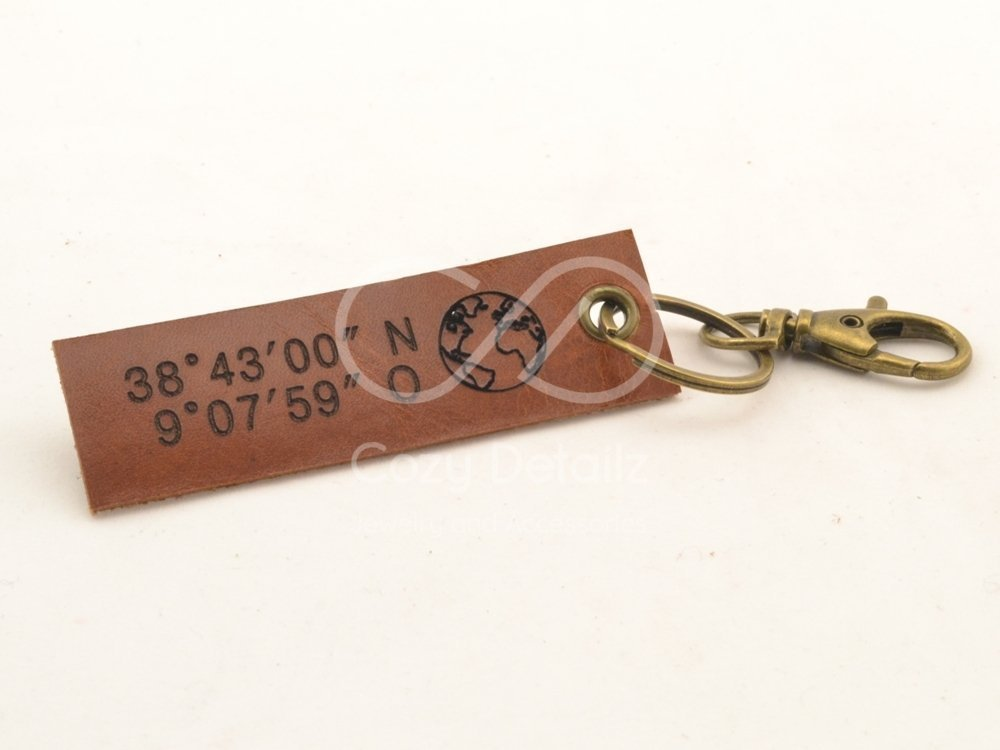 custom GPS coordinates, rustic keychain, mens leather keychain, longitude latitude, hipster personalized gift, coorporate gift, FREE SHIPPING