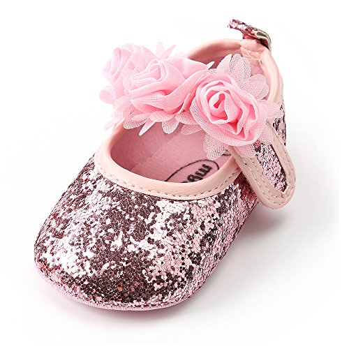 Antheron Baby Girls Mary Jane Flats Soft Sole Infant Moccasins Floral Sparkly Toddler Princess Dress Shoes(Pink,0-6 Month)