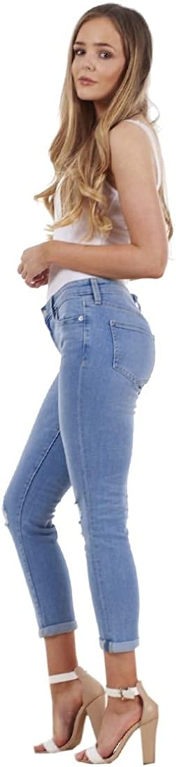 Ex Highstreet Ladies Crop Denim Jeans Holiday Stretch 3//4 Ripped Summer Pockets Rip Pants