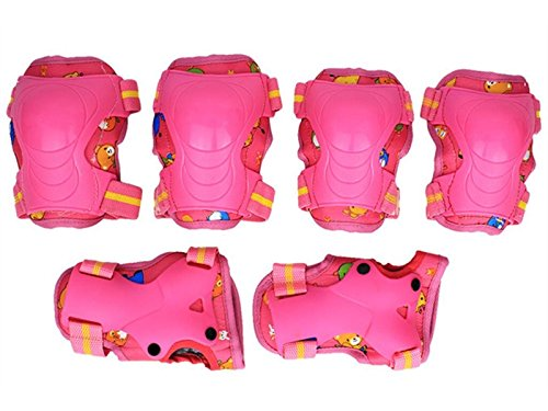 Skating 6 Pcs/Set Kid's Protective Gear Set with Elbow Knee Wrist Pad for Roller Skating Skateboard BMX Scooter Cycling (Pink) for Protection by Wetietir