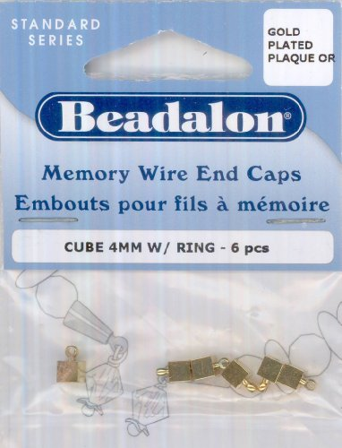 Beadalon Memory Wire End Caps: Cube, 4mm w/Ring, Gold Plated, 6 Pieces