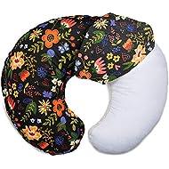 Boppy Original Nursing Pillow Slipcover, Cotton Blend Fabric, Black Floral