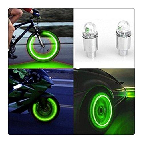 (FTXJ 2PCS Bicycle Valve Lights 2pcs LED Tire Valve Stem Caps Neon Light Auto Accessories Bike Bicycle Car Auto (2PC,)