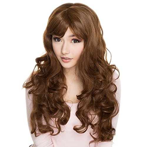 Easy Lazy Halloween Costumes (Wig Light Brown Curly Wavy Long Women Curly Lolita Synthetic Full Wig For Cosplay Costume Lazy Loris@ Halloween)