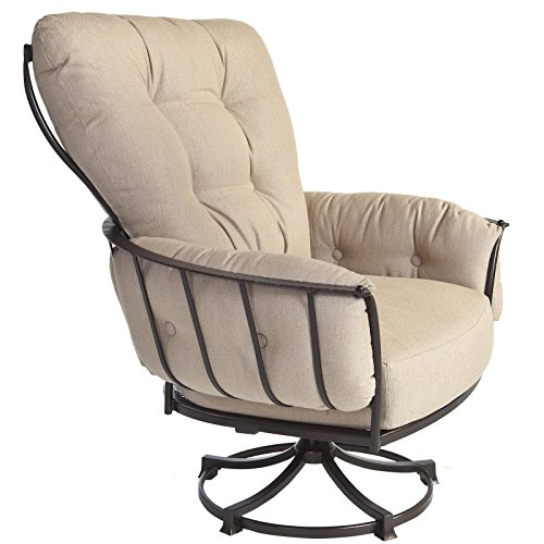 OW Lee Quick Ship Monterra Swivel Rocker Lounge Chair in Copper Canyon Finish, Belgian Linen Fabric For Sale