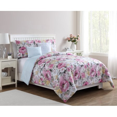 Floral Printed Lucia 5-Piece Flower Bedding Comforter Set With Decorative Pillows and Shams, Queen (Lucia Comforter Set)