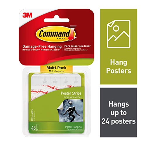 Command 17024VP Poster, Decorate Damage-Free, Indoor, 48 Strips, Multi-Pack, White from Command