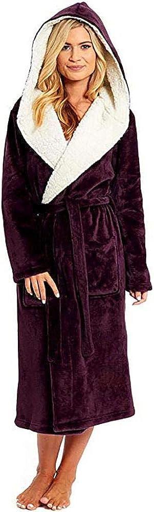 VJGOAL Albornoces de Mujer Moda Casual de Invierno Tallas Grandes Color sólido Espesar Cálida Bata de Felpa Manga Larga Vendaje con Capucha Ropa de Dormir Pijamas