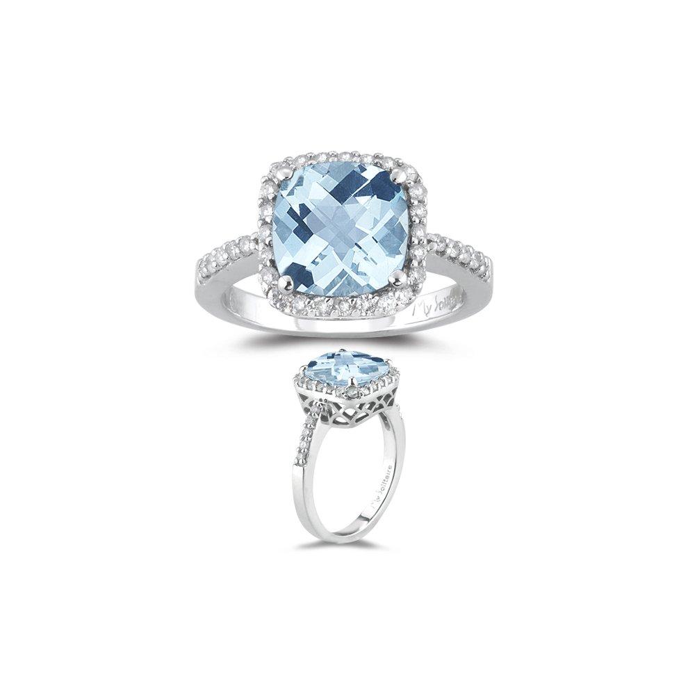 3.10 Cts Diamond & AA Cush Check Aquamarine Ring in 14K White Gold-6.5