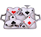 Purpledip Colorful Playing Cards Poker Serving Tray Platter With 4 Bowls; Unique Table Décor (10586a)