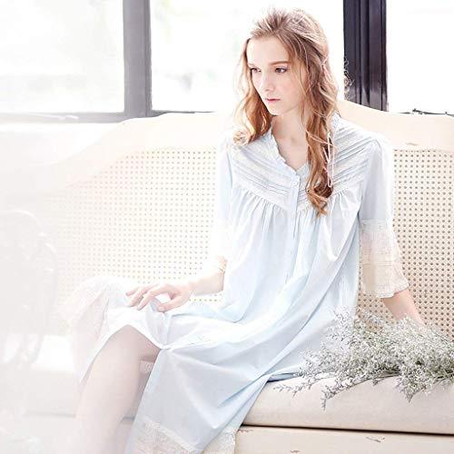 Blau Para El Mujer Otoño Elegantes Noche Vestido Dormir Primavera cuello Manga Princess Ropa Fashion Moda Camison Vintage V Estilo Trompeta Hogar Encaje De Camisón qHFwWRqvg