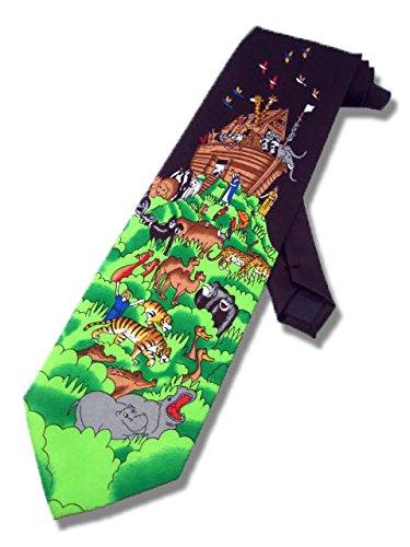 Men's Navy Blue Noah's Ark Bible Story Religious Necktie Neck Tie Neckwear