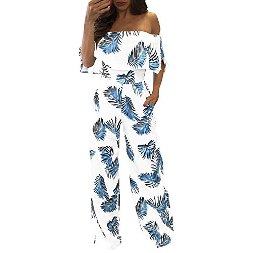 QIQIU Womens Sexy Off Shoulder Floral Leaf Print Sparkly Loose Wide Leg Bandeau Capelet Casual Playsuit Jumpsuits Blue -