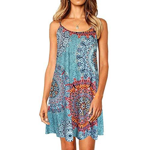 Nihewoo Women Summer Dresses Spaghetti Strap Sundress Maxi Boho Dress Sleeveless Swing Dress Beach Party Dresses Blue (Gossip Girl Best Dresses)
