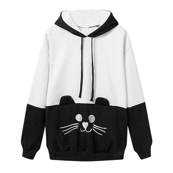 DEELIN Moda De La Mujer OtoñO Nuevo Bordado De Manga Larga Gato Negro Y Blanco Collage Jerseys Sudaderas con Capucha Top: Amazon.es: Ropa y accesorios