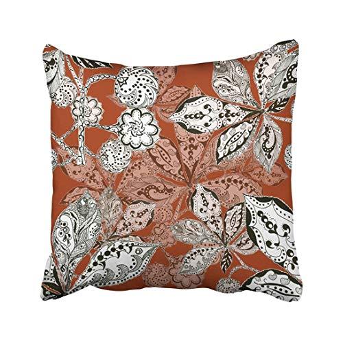 (Custom Black Graphic Chestnut Leaf Pattern White Monochrome Nature Terracotta Pillowcase Throw Pillow Cover Case 18x18 inches)