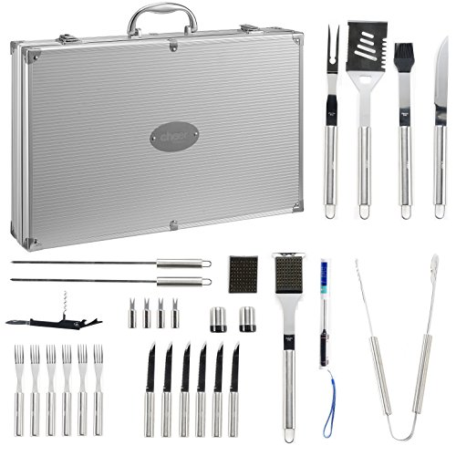 30 Piece BBQ Utensil Set | Professional Grade Stainless Steel Barbecue Grill Tool Set with Aluminum Storage Case - Includes 4-in-1 Spatula Turner, Tongs and Many Other BBQ Grilling Accessories