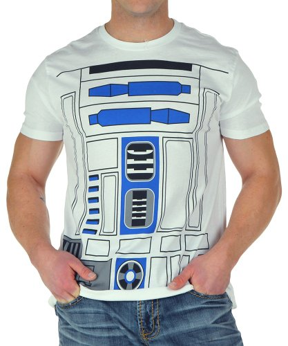 Mighty Fine I AM R2D2 MENS COSTUME TEE White 2X (Boys I Am Chewbacca Costume Tshirt)