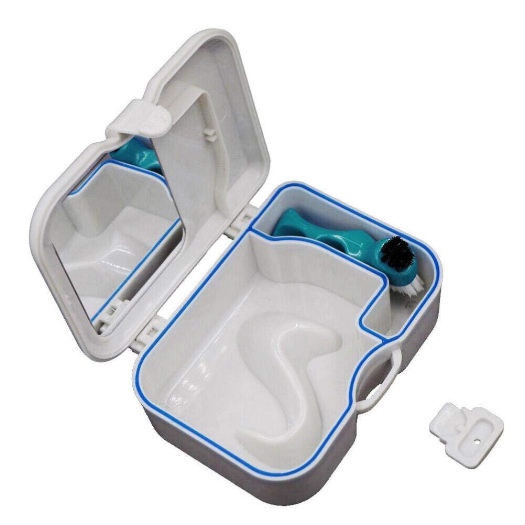 ❤JPJ(TM)❤️_Hot sale 1PC New Creative Denture False Teeth Storage Box Case With Mirror and Clean Brush Dental Appliance (White)