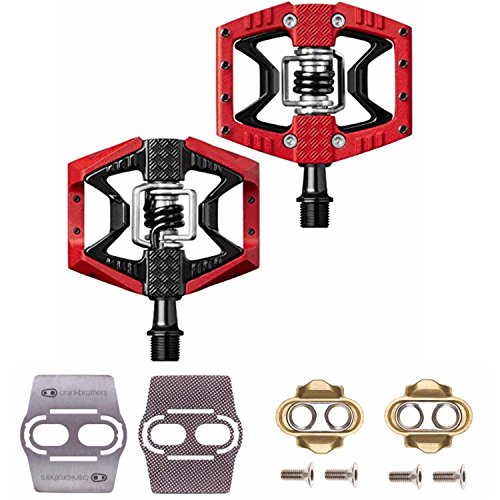 CRANKBROTHERs Double Shot 3 Bike Pedals Pair (Red/Black) with Premium Cleats and Shoe Shields