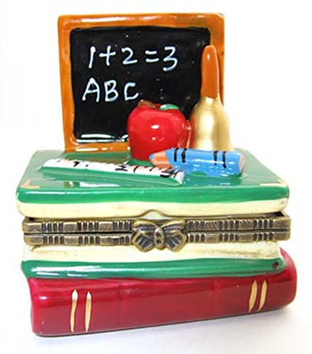 Art Gifts ABC Blackboard on Stack of Books Teachers Pet Hinged Trinket Box Porcelain