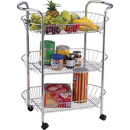 3 TIER KITCHEN VEGETABLE FRUIT STORAGE TROLLEY CART CHROME STAND WHEEL OVAL NEW