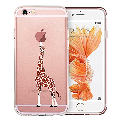 iPhone 6 Case, iPhone 6S Case, Doramifer Funny Series Protective Case [Anti-Slip] [Good Grip] with Aesthetic 3D Print Soft Back Cover for iPhone 6/6S (Eating Giraffe)
