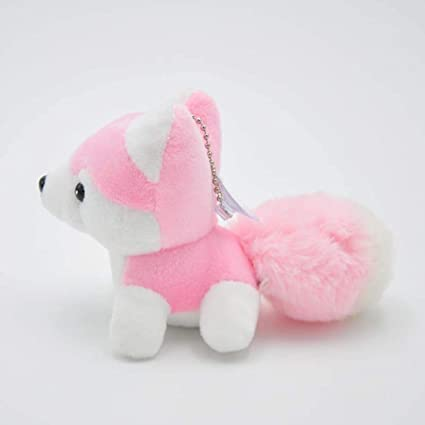 JEWH Kawaii Puppy Plush Toys , Cute Simulation Husky Dog (Pink)