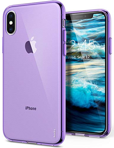 iPhone Xs/iPhone X Case, Aeska Ultra [Slim Thin] Flexible TPU Gel Rubber Soft Skin Silicone Protective Case Cover for Apple iPhone Xs/iPhone X (Purple)
