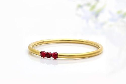 valentines day gifts for her. January Birthstone Garnet Petite and delicate gemstone bracelet Smoky Quartz /& Gold stacking bracelet