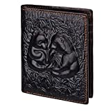Men's Leather Wallet Carved Panda Bifold Business ID Cards Case, Medium