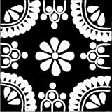 4.2x4.2 9 pcs White/Black Madrid Talavera Mexican Tile